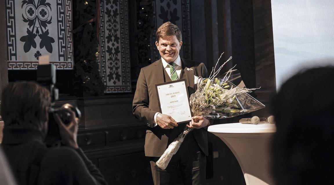 Talmannen tog emot Blendows juristpris för 2019